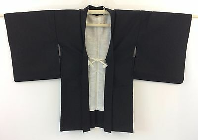 Authentic Japanese black silk women's haori jacket with himo, medium (H1608)
