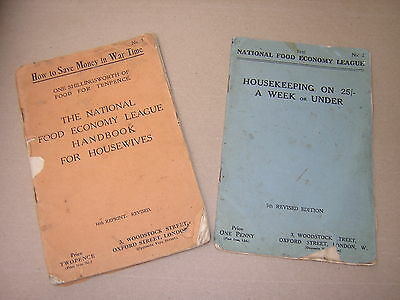 Ww1. 1914-18. Two Original Scarce Home Front Booklets. Housekeeping In War Time