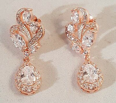 Exquisite  Rose Gold Plated CZ Marquise Cluster Earrings Pierced