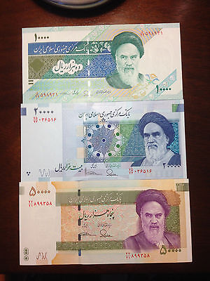 50000 and 20000 and 10000 Rials Rial Persian Iran Uncirculated paper money