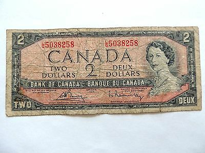 1954 Canada Two ($2) Dollar Note.