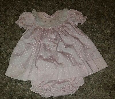 Vtg Smocked Baby Girl's Dress House of Hatten 12 months Pink Polka Dot Easter