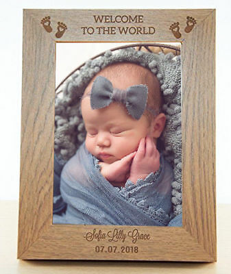 "New Baby Photo Frame Personalised 7x5"" ENGRAVED Newborn Picture Family Gift Wood"
