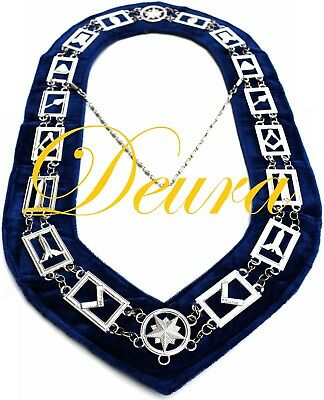 Masonic Collar SILVER Link Blue Backing Master Mason Chain DMR-400SB