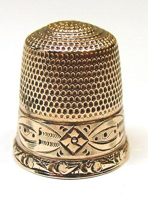 Antique Goldsmith Stern & Co. Solid Gold Thimble  Stylized Flower & Leaves