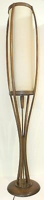 VINTAGE ADRIAN PEARSALL WALNUT ATOMIC-AGE FLOORLAMP with WOODEN ON/OFF PULL
