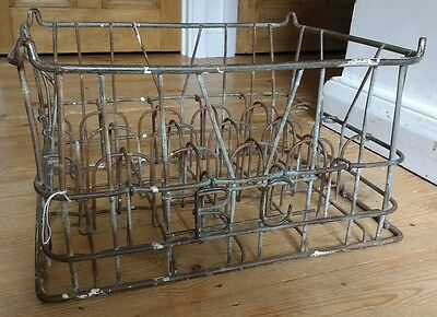 Vintage bottle carrier wine milk antique holder shabby chic rack picclick uk - Wire wine bottle carrier ...