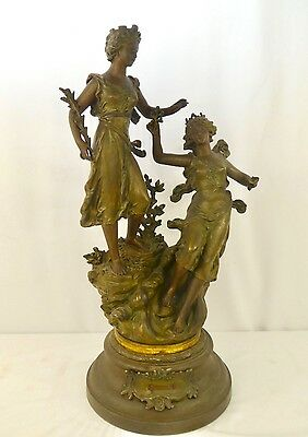 "Antique Spelter Sculpture by Ernest Rancoulet. Bronze Patina. 27""Tall. Signed."