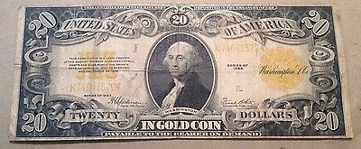 1922 $20 U.S. Large Size Gold Certificate Currency Note!