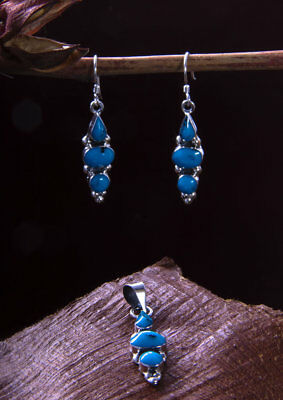 Taxco Mexican 925 Sterling Silver Earring Pendant Light Set Mexico