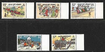 Isle of Man 1990 Antique Postcards--Attractive Art Topical (413-17) MNH
