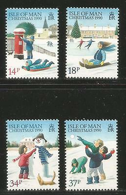 Isle of Man 1990 Christmas/Winter Scenes--Attractive Art Topical (436-39) MNH