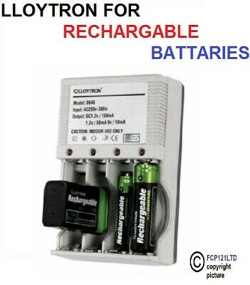 Lloytron Compact Mains plug in Battery Charger for AA AAA or 9V