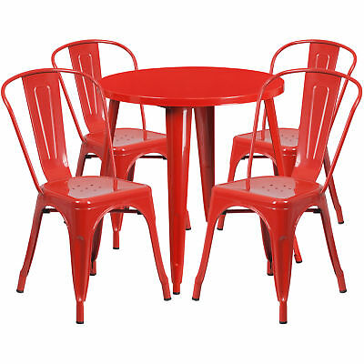 Flash Furniture 30'' Round Red Metal Table Set With 4 Cafe Chairs