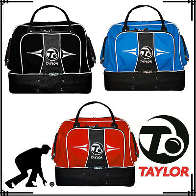 Taylor Bowls Lawn Sports Midi Waterproof Compartment Bags Gym Holdall Black Red