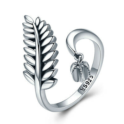 Leaves Authentic 925 Sterling Silver Ring Statement Adjustable for Women Girls