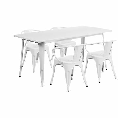 31.5'' x 63'' Rectangular White Metal Table Set with 4 Arm Chairs