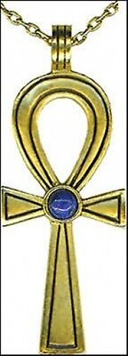"Ankh Pendant with Genuine Lapis Stone 24k Gold-plated Pendant with 18"" Chain USA"
