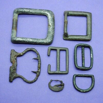 Varied group of 7 Medieval/Post Medieval bronze and brass buckles UK finds