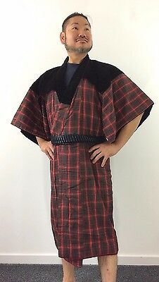 Authentic Japanese red & black dotera for men, M, house padded kimono (O1615)