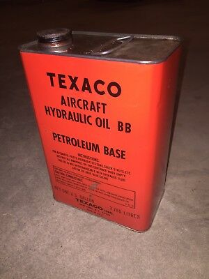 TEXACO Aircraft Aviation Hydraulic Oil 15 Petroleum Gallon Advertising Can Good