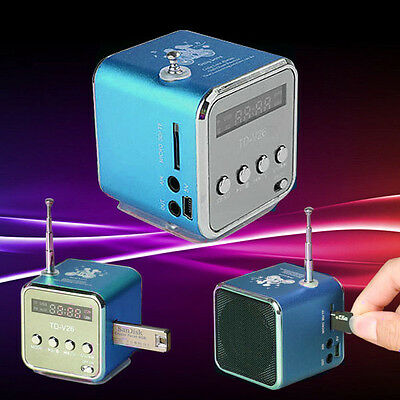 LCD Mini Lautsprecher Box MP3 Musik Player FM Radio USB Stick Micro SD Blau