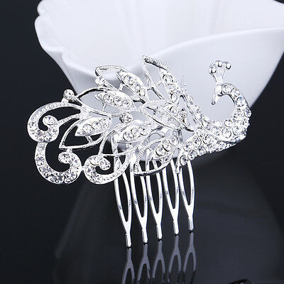 Bridal Wedding Silver Crystal Rhinestone Peacock Hair Comb Tiara Crown hair pin