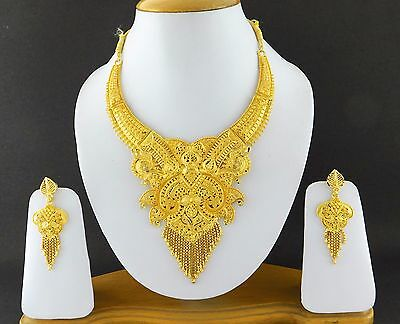 Indian Bollywood Fashion Jewelry Gold Plated Wedding Necklace Earrings Set A13