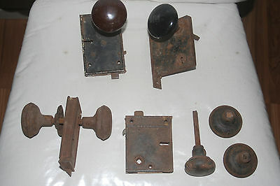 antique door hardware..knobs metal and plates for skeleton key porcelain