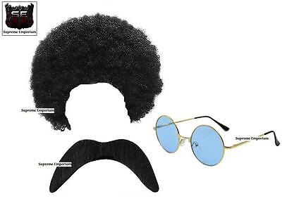 SUPREME MENS HIPPIE HIPPY AFRO CURLY WIG SUNGLASSES TASH 1970s FANCY DRESS NEW