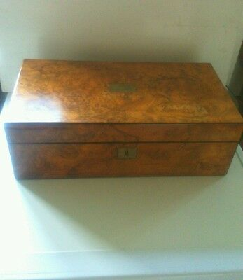 Large Victorian Burr Walnut Writing Slope With Key And Extras