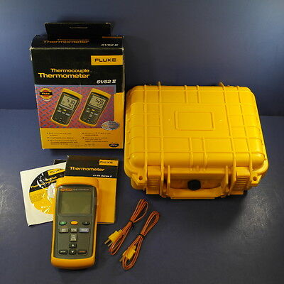Brand New Fluke 52 II Thermocouple Thermometer, Box, Hard Case