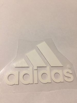 iron on transfer adidas logo white 3x4 cm DIY your clothes