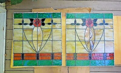 "Pair of Antique Pittsburgh Stained Leaded Glass Windows  26"" by 29"" w/ Rose"