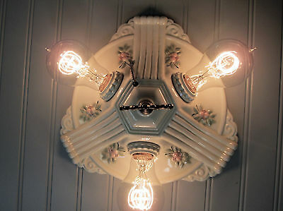Antique Vintage Art Deco Flush Mount Pull Chain Ceiling Fixture Floral 3 Light