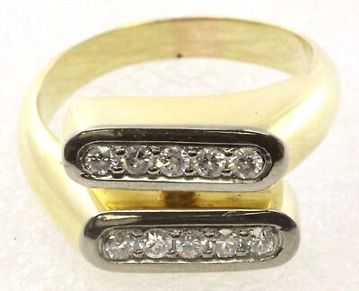 1/2 Ct 2-Row Diamond 18K Yellow Gold Band Ring Size 8 1/2 10.3 Grams WHOLESALE