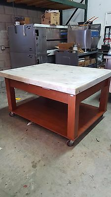 "Used Unique 60"" Marble Bakery/chocolate Table Includes Free Shipping"