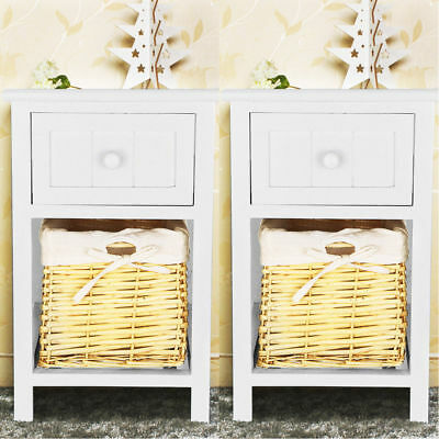 Pair Shabby Chic Bedside Tables Blue Grey Storage Cabinet Wicker Basket Drawers