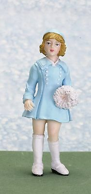 Dollhouse Miniature Resin Doll Abby with a Blue Suit Town Square Miniatures