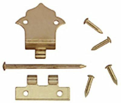 Dollhouse Miniature 1:12 Scale Set of 6 Brass Offset Hinges with Nails