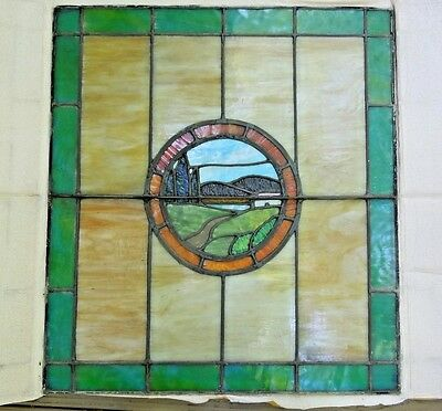 "Antique Pittsburgh Stained Leaded Glass Window  26"" by 29"" w/ House in Fields"