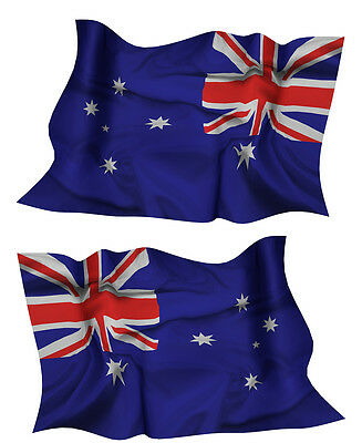 AUSTRALIA FLAG DECAL left and right facing AUSSIE SIZE 50MM BY 31MM GLOSS