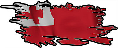 tonga RIPPED FLAG Size apr. 300mm by 122mm