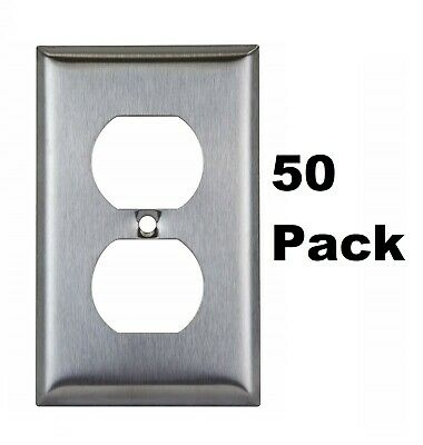 Stainless Steel Outlet Cover 1-Gang Duplex Receptacle Metal Wall Plate (50 Pack)