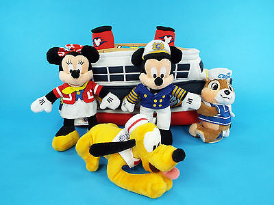 Disney Cruise Line Plush Ship with Characters Mickey Mouse Minnie Pluto Chip Lot