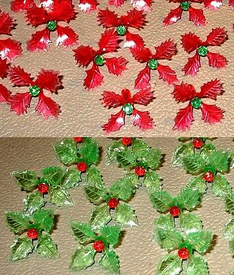12 RARE Holly Poinsettia Light Bulbs for Ceramic Christmas Tree 6 Red 6 Green