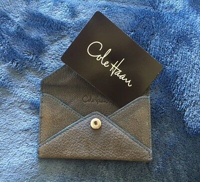COLE HAAN Soft Brown Leather Blue Stitching Business Card Case ID Envelope Snap
