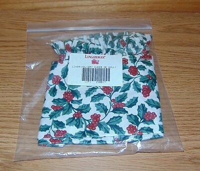 Longaberger NEW Traditional Holly 216617 LINER holiday cheer basket OVER EDGE