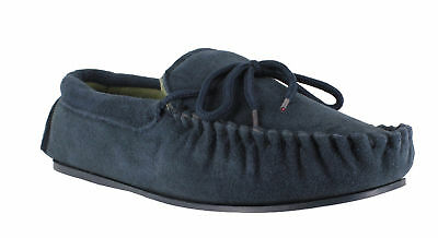 Lodgemok Mens Navy Real Suede Polar Fleece Lined Moccasins Slippers
