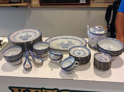 Chinese Gold Rim Blue & White Flower Rice Eyes 51 Piece Set marked Made in CHINA